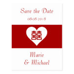 Double Happiness • Heart  • Bold Red Postcard