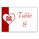 Double Happiness • Heart  • Bold Red Table Cards