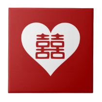 Double Happiness • Heart • Bold Red Tile