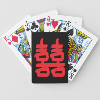 Double Happiness in Red Bicycle Playing Cards