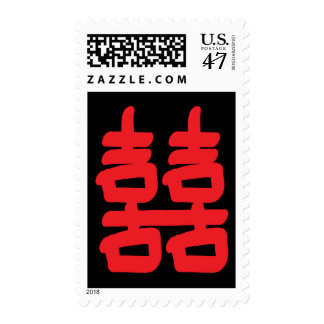 Double Happiness in Red Postage