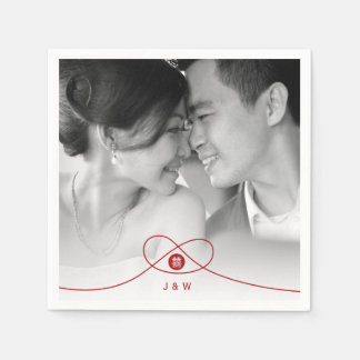 Double Happiness Knot Chinese Wedding Paper Napkin