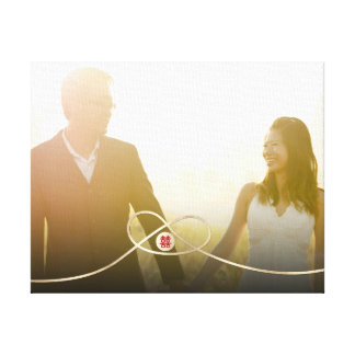 Double Happiness Knot Chinese Wedding Photo Canvas