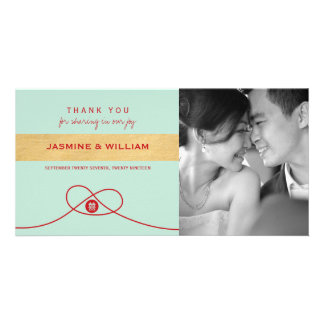 Double Happiness Knot Wedding Thank You Photo Card