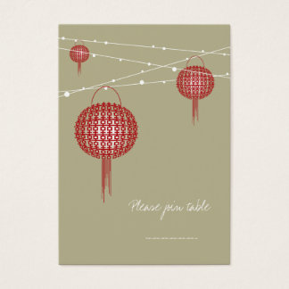 Double Happiness Lanterns Chinese Modern Wedding Business Card