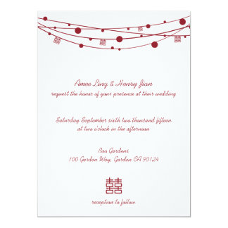 "Double Happiness Lanterns Chinese Wedding Invites 6.5"" X 8.75"" Invitation Card"
