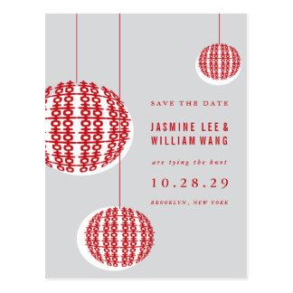Double Happiness Lanterns Chinese Wedding Postcard
