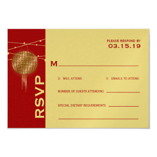 Double Happiness Lanterns Chinese Wedding RSVP 3.5x5 Paper Invitation Card