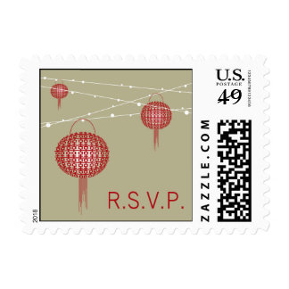 Double Happiness Lanterns Chinese Wedding RSVP Postage