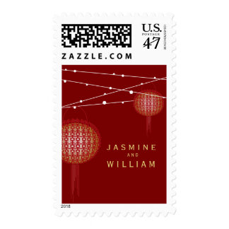 Double Happiness Lanterns Chinese Wedding Stamps