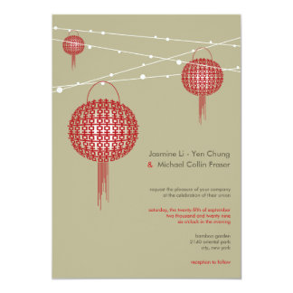 Double Happiness Lanterns Modern Chinese Wedding 5x7 Paper Invitation Card