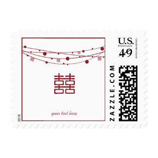 Double Happiness Lanterns Oriental Wedding Postage