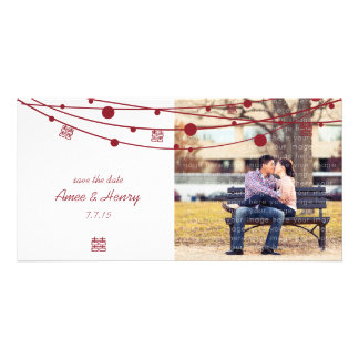 Double Happiness Lanterns Wedding Save the Date Card