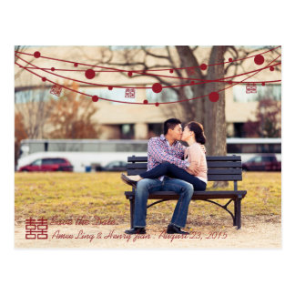 Double Happiness Lanterns Wedding Save the Date Postcard