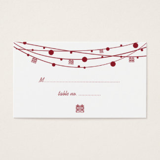 Double Happiness Lanterns Wedding Seating Cards
