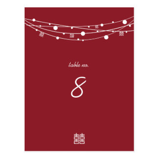 Double Happiness Lanterns Wedding Table Cards
