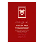 Double Happiness Logo Modern Chic Chinese Wedding Personalized Announcements