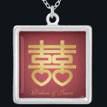 """Double Happiness necklace<br><div class=""""desc"""">Chinese Symbol for Double Happiness Red / Gold necklace.</div>"""