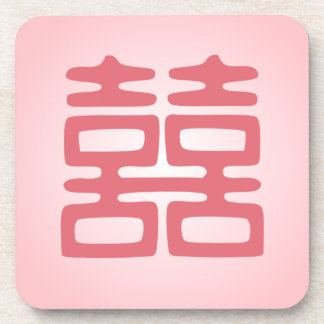 Double Happiness • Pink • Bold Beverage Coaster