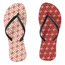 Double Happiness Red Chinese Wedding Flip Flops