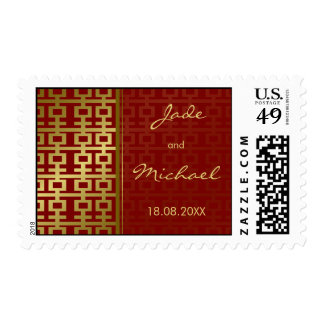 Double Happiness Red Gold Chinese Wedding Stamps