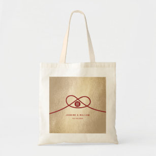 Double Hiness Red Knot Chinese Wedding Tote Bag
