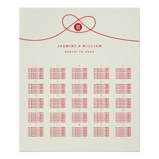 Double Happiness Red Knot Wedding Seating Chart