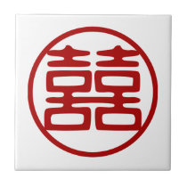 Double Happiness • Round Ceramic Tile