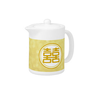 Double Happiness • Round • Gold Teapot
