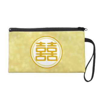 Double Happiness • Round • Gold Wristlet Purse