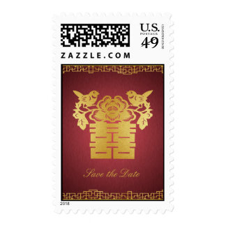Double Happiness Save the Date Love Birds Postage