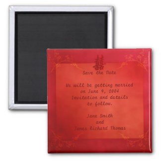 Double Happiness Save the Date 2 Inch Square Magnet