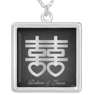 Double Happiness Silver necklace