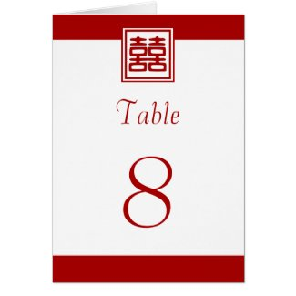 Double Happiness • Square • Table Numbers Greeting Cards