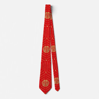 Double Happiness Symbol Pattern gold on red Neck Tie