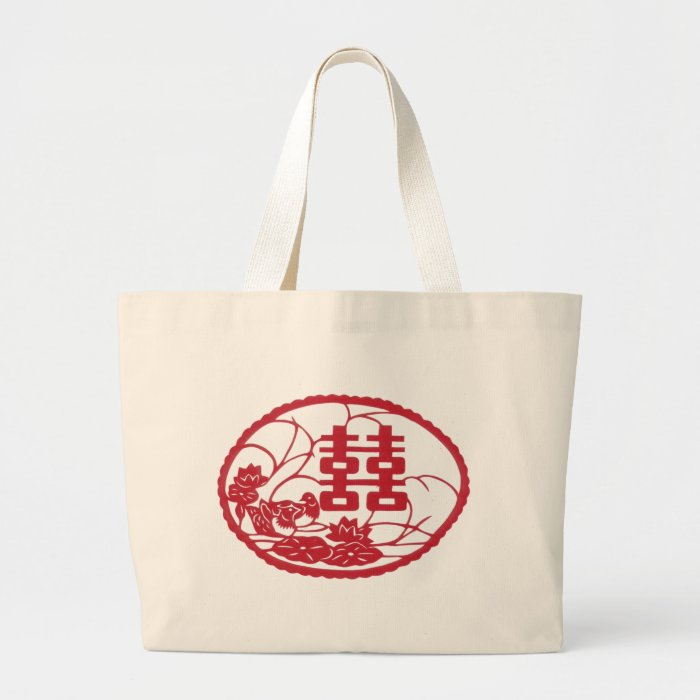 Double happiness Tree Ducks Large Tote Bag