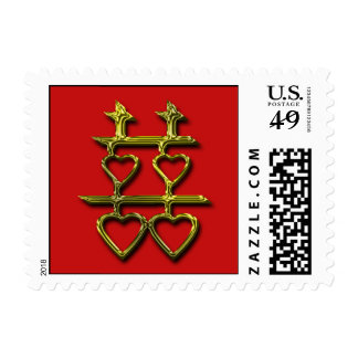Double Happiness Wedding Hearts Postage Stamp