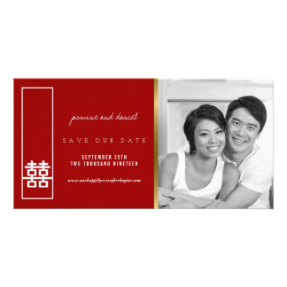 Double Happiness Wedding Save The Date Photo Card