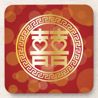 Double Happiness Wedding Symbol with Hearts Red Coaster