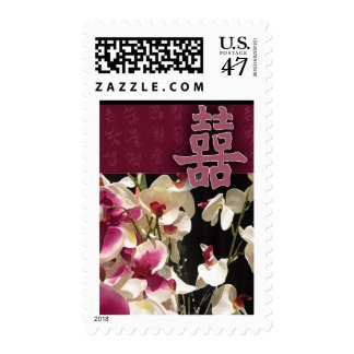 Double happiness - with orchids! stamp