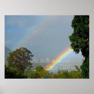 Double Hawaiian Rainbow Poster