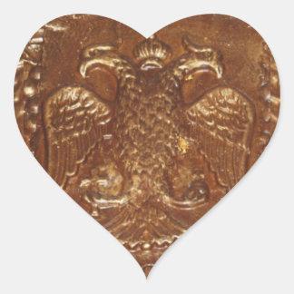 Double Headed Eagle Byzantine Empire Coat Of Arms Heart Sticker