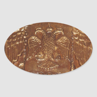 Double Headed Eagle Byzantine Empire Coat Of Arms Oval Sticker