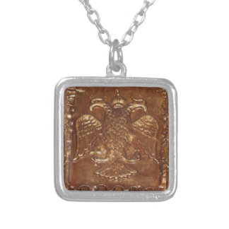 Double Headed Eagle Byzantine Empire Coat Of Arms Silver Plated Necklace