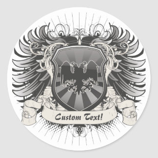 Double Headed Eagle Crest Classic Round Sticker