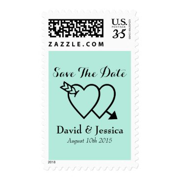 logotees Double heart and arrow Save the date wedding stamp