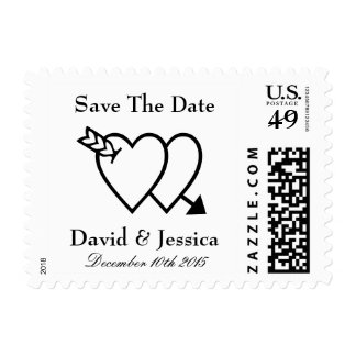 Double heart and arrow Save the date wedding stamp