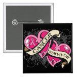 Double Heart Breast Cancer Survivor 2 Inch Square Button