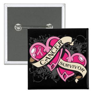 Double Heart Breast Cancer Survivor Pinback Button