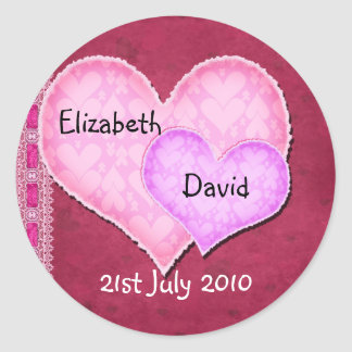 Double Heart Classic Round Sticker